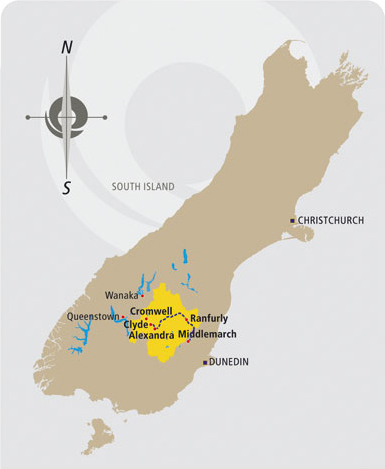 Location of the Rail Trail in comparison to the South Island of New Zealand